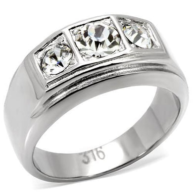 TK119 - High polished (no plating) Stainless Steel Ring with Top Grade Crystal  in Clear