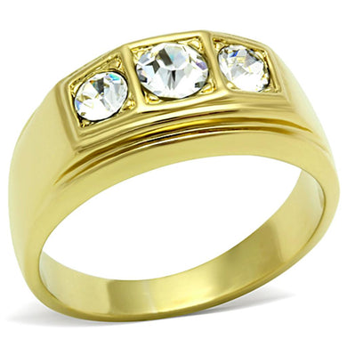 TK119G - IP Gold(Ion Plating) Stainless Steel Ring with Top Grade Crystal  in Clear