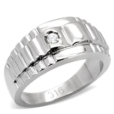 TK120 - High polished (no plating) Stainless Steel Ring with AAA Grade CZ  in Clear