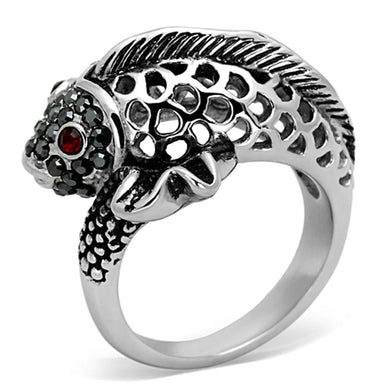 TK1215 - High polished (no plating) Stainless Steel Ring with Top Grade Crystal  in Siam