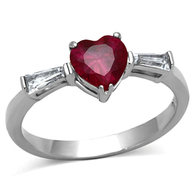 TK1221 - High polished (no plating) Stainless Steel Ring with AAA Grade CZ  in Ruby