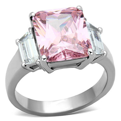 TK1224 - High polished (no plating) Stainless Steel Ring with AAA Grade CZ  in Rose