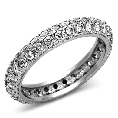 TK1225 - High polished (no plating) Stainless Steel Ring with AAA Grade CZ  in Clear