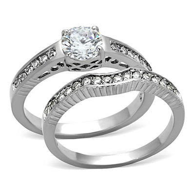 TK1231 - High polished (no plating) Stainless Steel Ring with AAA Grade CZ  in Clear
