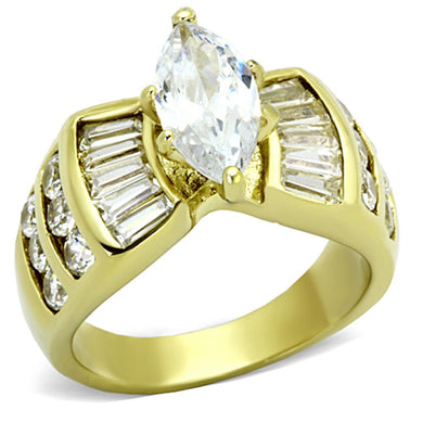 TK1235 - IP Gold(Ion Plating) Stainless Steel Ring with AAA Grade CZ  in Clear