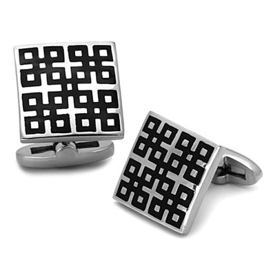TK1243 - High polished (no plating) Stainless Steel Cufflink with Epoxy  in Jet