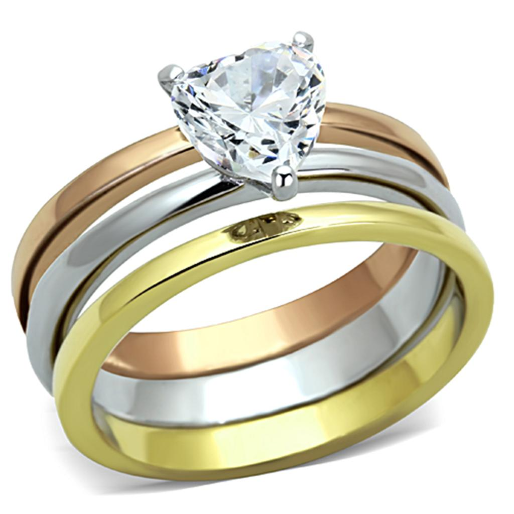 TK1274 - Three Tone IP(IP Gold & IP Rose Gold & High Polished) Stainless Steel Ring with AAA Grade CZ  in Clear