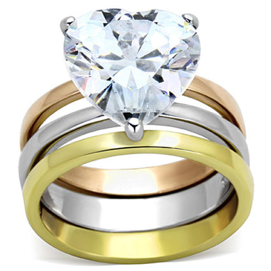 TK1275 - Three Tone IP(IP Gold & IP Rose Gold & High Polished) Stainless Steel Ring with AAA Grade CZ  in Clear