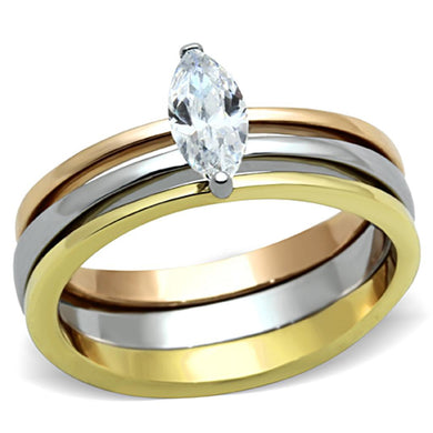 TK1276 - Three Tone IP(IP Gold & IP Rose Gold & High Polished) Stainless Steel Ring with AAA Grade CZ  in Clear