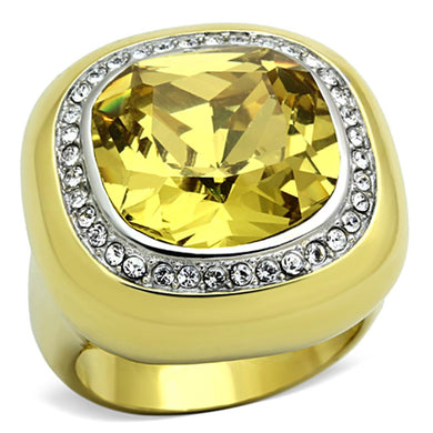 TK1285 - Two-Tone IP Gold (Ion Plating) Stainless Steel Ring with Synthetic Synthetic Glass in Topaz
