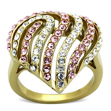 TK1287 - IP Gold(Ion Plating) Stainless Steel Ring with Top Grade Crystal  in Light Rose