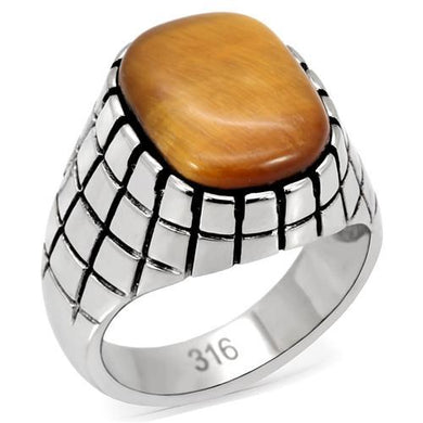 TK129 - High polished (no plating) Stainless Steel Ring with Synthetic Tiger Eye in Topaz