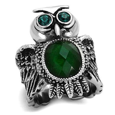 TK1312 - High polished (no plating) Stainless Steel Ring with Synthetic Synthetic Glass in Emerald