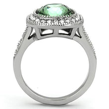 Load image into Gallery viewer, TK1317 - High polished (no plating) Stainless Steel Ring with Top Grade Crystal  in Emerald