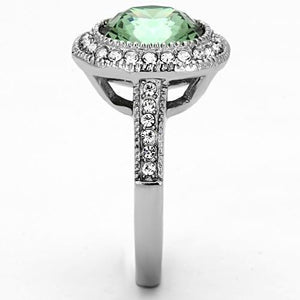 TK1317 - High polished (no plating) Stainless Steel Ring with Top Grade Crystal  in Emerald