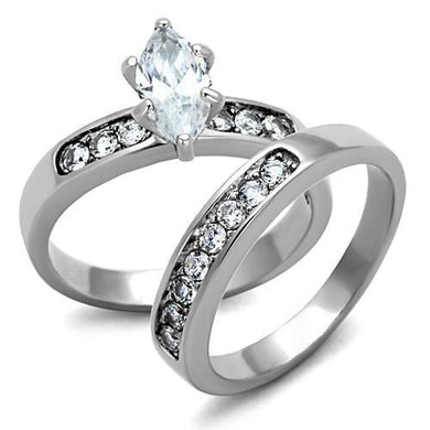 TK1319 - High polished (no plating) Stainless Steel Ring with AAA Grade CZ  in Clear