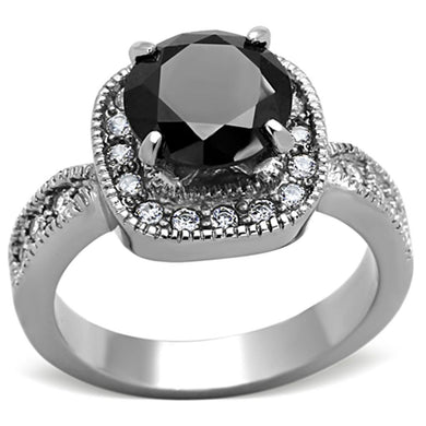 TK1322 - High polished (no plating) Stainless Steel Ring with AAA Grade CZ  in Black Diamond