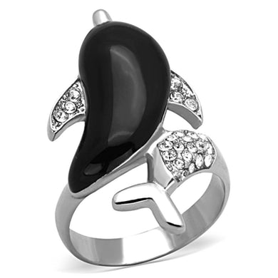 TK1326 - High polished (no plating) Stainless Steel Ring with Top Grade Crystal  in Clear