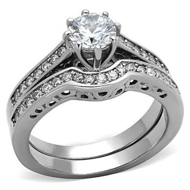 TK1330 - High polished (no plating) Stainless Steel Ring with AAA Grade CZ  in Clear