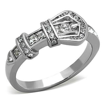 TK1334 - High polished (no plating) Stainless Steel Ring with Top Grade Crystal  in Clear