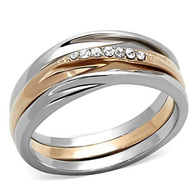 TK1340 - Two-Tone IP Rose Gold Stainless Steel Ring with Top Grade Crystal  in Clear