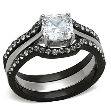 TK1343 - Two-Tone IP Black Stainless Steel Ring with AAA Grade CZ  in Clear