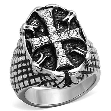 TK1351 - High polished (no plating) Stainless Steel Ring with Top Grade Crystal  in Clear