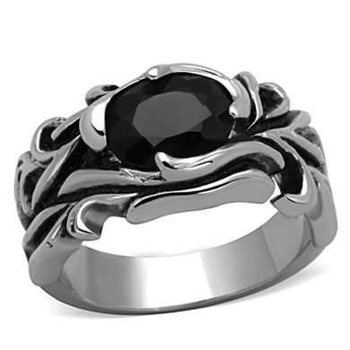 TK1355 - High polished (no plating) Stainless Steel Ring with Synthetic Synthetic Glass in Jet