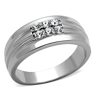 TK1357 - High polished (no plating) Stainless Steel Ring with Top Grade Crystal  in Clear