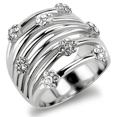 TK1372 - High polished (no plating) Stainless Steel Ring with Top Grade Crystal  in Clear