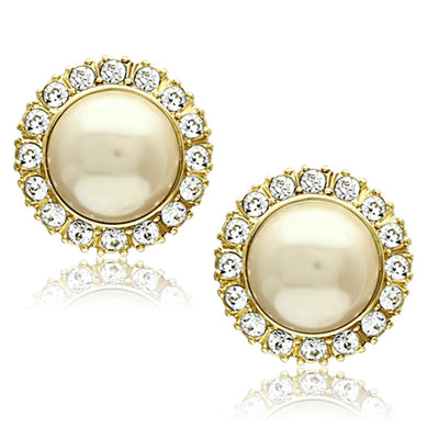 TK1381 - IP Gold(Ion Plating) Stainless Steel Earrings with Synthetic Pearl in Citrine Yellow