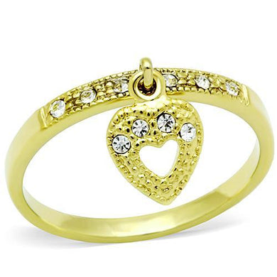 TK1395 - IP Gold(Ion Plating) Stainless Steel Ring with Top Grade Crystal  in Clear
