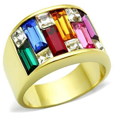 TK1397 - IP Gold(Ion Plating) Stainless Steel Ring with Top Grade Crystal  in Multi Color