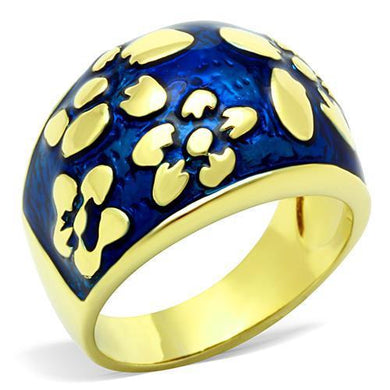 TK1399 - IP Gold(Ion Plating) Stainless Steel Ring with Epoxy  in Capri Blue
