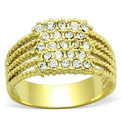 TK1400 - IP Gold(Ion Plating) Stainless Steel Ring with Top Grade Crystal  in Clear