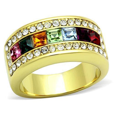 TK1402 - IP Gold(Ion Plating) Stainless Steel Ring with Top Grade Crystal  in Multi Color