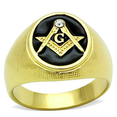 TK1403 - IP Gold(Ion Plating) Stainless Steel Ring with Top Grade Crystal  in Clear