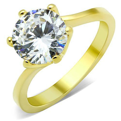 TK1406 - IP Gold(Ion Plating) Stainless Steel Ring with AAA Grade CZ  in Clear