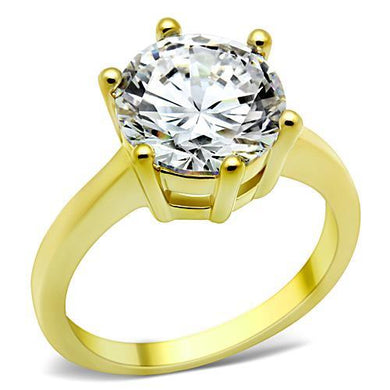TK1407 - IP Gold(Ion Plating) Stainless Steel Ring with AAA Grade CZ  in Clear
