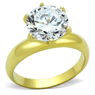 TK1408 - IP Gold(Ion Plating) Stainless Steel Ring with AAA Grade CZ  in Clear