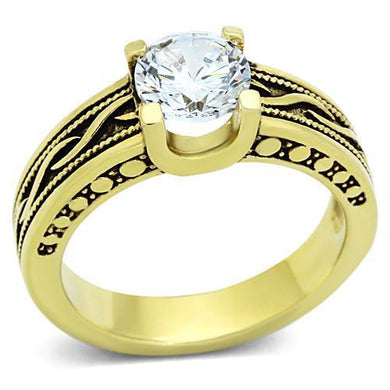 TK1410 - IP Gold(Ion Plating) Stainless Steel Ring with AAA Grade CZ  in Clear