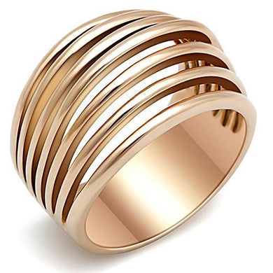 TK1414 - IP Rose Gold(Ion Plating) Stainless Steel Ring with No Stone