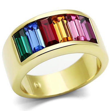 TK1415 - IP Gold(Ion Plating) Stainless Steel Ring with Top Grade Crystal  in Multi Color