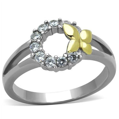 TK1434 - Two-Tone IP Gold (Ion Plating) Stainless Steel Ring with AAA Grade CZ  in Clear