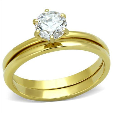 TK1439 - IP Gold(Ion Plating) Stainless Steel Ring with AAA Grade CZ  in Clear
