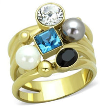 Load image into Gallery viewer, TK1440 - IP Gold(Ion Plating) Stainless Steel Ring with Synthetic Pearl in Multi Color