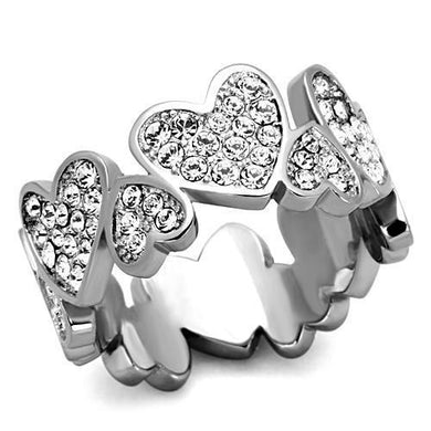 TK1443 - High polished (no plating) Stainless Steel Ring with Top Grade Crystal  in Clear
