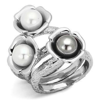 TK1449 - High polished (no plating) Stainless Steel Ring with Synthetic Pearl in Multi Color