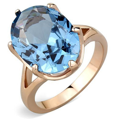 TK1484 - IP Rose Gold(Ion Plating) Stainless Steel Ring with Synthetic Spinel in London Blue