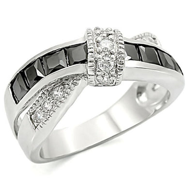 TK1494 - High polished (no plating) Stainless Steel Ring with AAA Grade CZ  in Jet